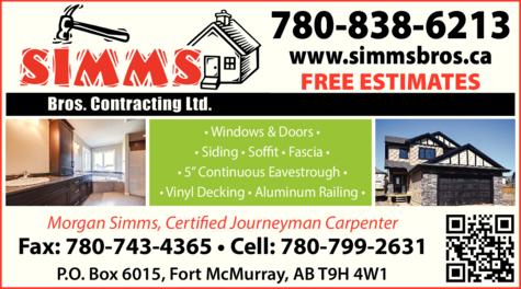 Print Ad of Simms Bros Contracting Ltd