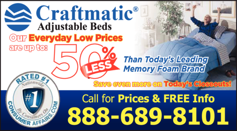 Print Ad of Craftmatic Adjustable Beds
